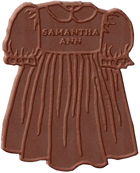 Custom Dress Shaped Chocolate Bar with Baby Name on the bar